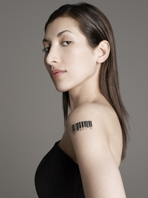 Woman with Barcode Tattoo on Shoulder